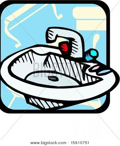 Bathroom sink.Pantone colors.Vector illustration