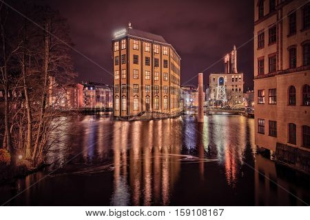 NORRKOPING, SWEDEN - DECEMBER 20, 2013: Christmas atmosphere in the unique industrial landscape  in Norrkoping.  Norrkoping is a historic industrial town in Sweden