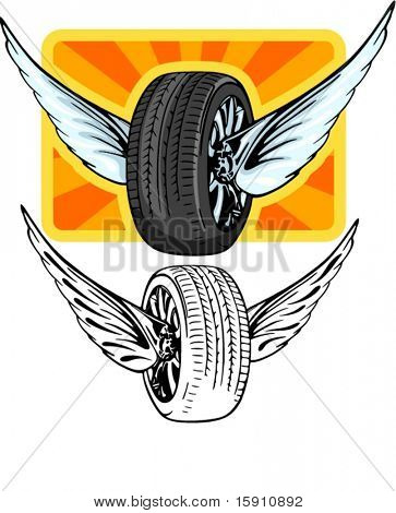 Vector illustration of a tire with wings. The vectors are VERY CLEAN and ready for vinyl cutting, great also for screen printing and any other design work.