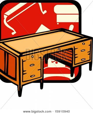 Mesa de madera.Colores de Pantone.Ilustración de Vector