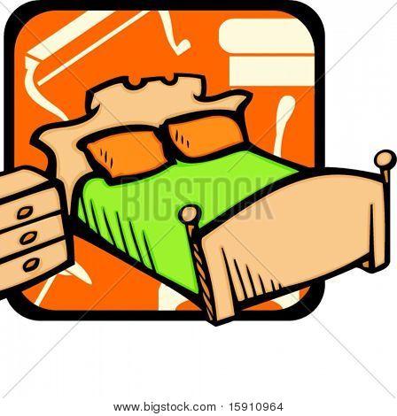 Bedroom.Pantone colors.Vector illustration