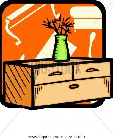 Oficina con maceta.Colores de Pantone.Ilustración de Vector