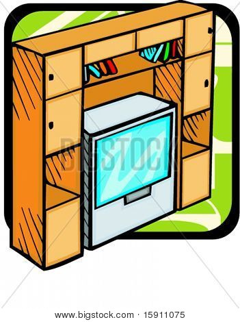 A bookcase with TV set.Pantone colors.Vector illustration