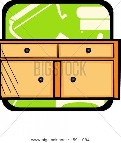 Cupboard.Pantone colors.Vector illustration