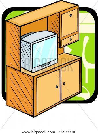 Uma estante com aparelho de TV.Cores Pantone.Ilustração vetorial