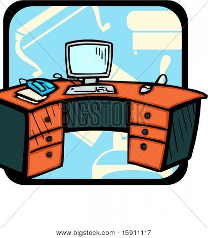 Computer desk.Pantone colors.Vector illustration
