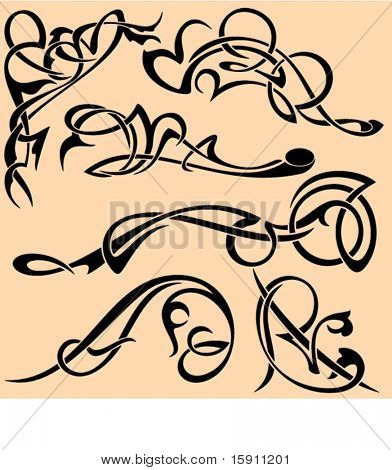 A set of 6 advanced ornamental design elements. These are very PRECISELY done elements, the lines are EXQUISITE and all the corners are SMOOTH. Ready for any use including vinyl-cutting .