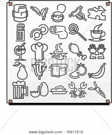ein Satz von 25 Vektor-Icons von Essen-Objekten, wo jedes Symbol mit einer gewundenen Zeile gezeichnet wird.