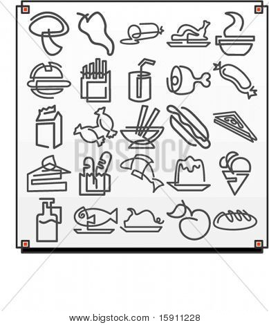 A set of 25 vector icons of food objects, where each icon is drawn with a single meandering line.