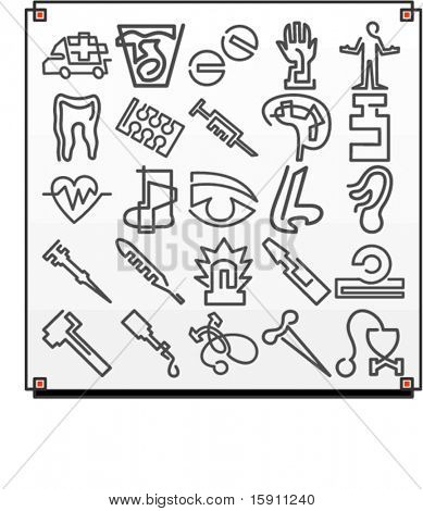 A set of 25 vector icons of hospital objects, where each icon is drawn with a single meandering line.