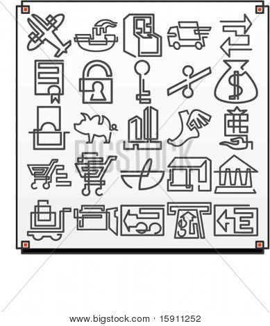 A set of 25 vector icons of commerce objects, where each icon is drawn with a single meandering line.