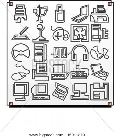 Un conjunto de iconos de vector 25 de objetos de la tecnología del equipo, donde cada icono se dibuja con una sola media