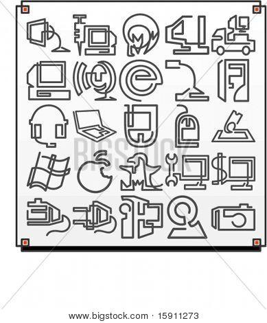Eine Gruppe von 25 Vektor-Icons von Computer-Technologie-Objekte, wo jedes Symbol, mit einem einzigen Mittelwert gezeichnet wird