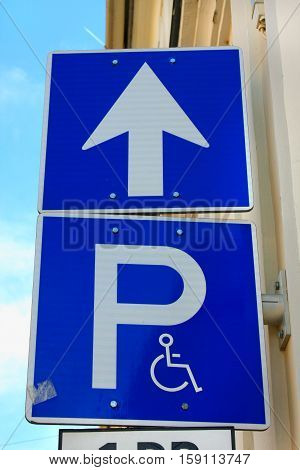 parking place sign for disabled and invalid persons