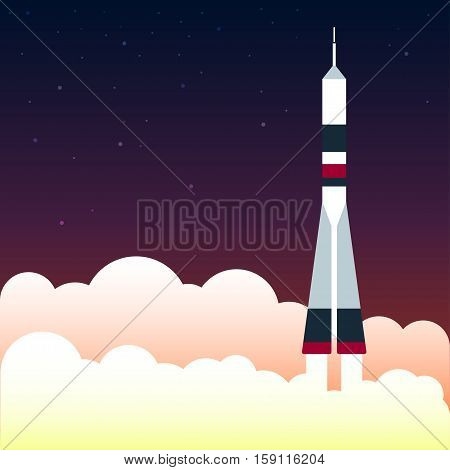 Spacecraft Vector illustration Start the spacecraft flight on starry sky Flat design