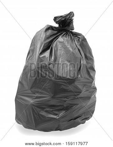 Black trash bag isolated on white background