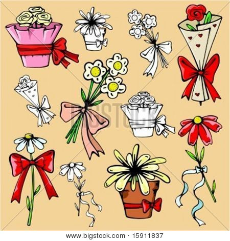 Ready-to-cut vector illustrations of flowers, flowerpots and bouquets with ribbons in color, and black and white renderings.