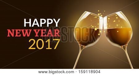 New Year eve 2017. Holiday illustration of two wine glasses. Drink luxury celebration of new year. Vector party alcohol decoration.
