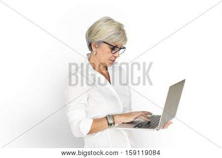 Adult Female Standing Holding Laptop Typing Concept