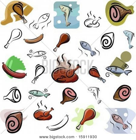 A set of meat and fish vector icons in color, and black and white renderings.
