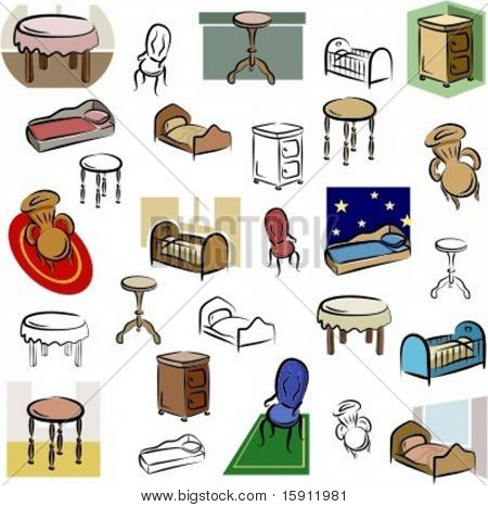 A set of home furniture vector icons in color, and black and white renderings.