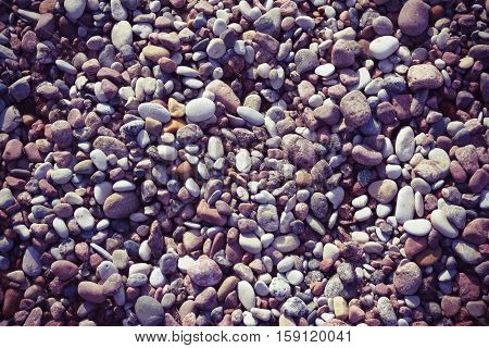 marine pebbles on the shore of the Baltic Sea, to grind with water in various sizes and colors, the oval and round,  nature, background tinted, preset, purple