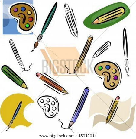A set of drawing and pencil vector icons in color, and black and white renderings.