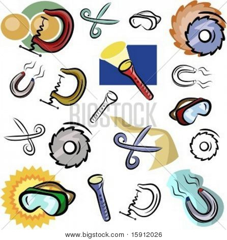 A set of vector icons of various tools in color, and black and white renderings.