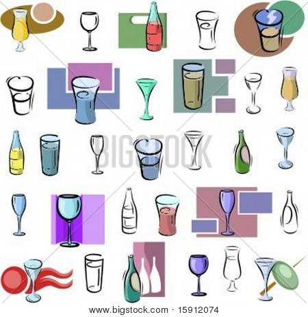 A set of glass and bottle vector icons in color, and black and white renderings.