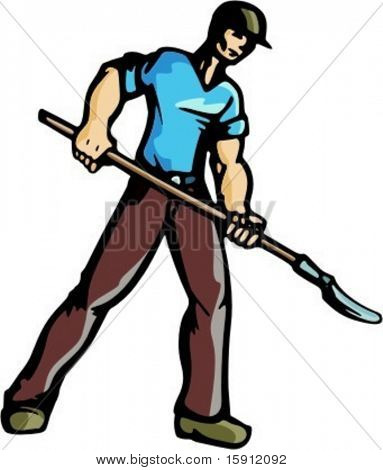 A ready-to-cut vector illustration of a worker, holding a shovel.