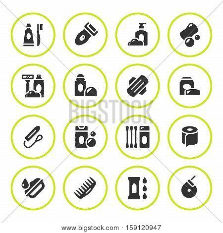 Set round icons of hygiene isolated on white. Vector illustration