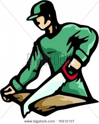 A vector illustration of a carpenter, chopping wood with a saw.