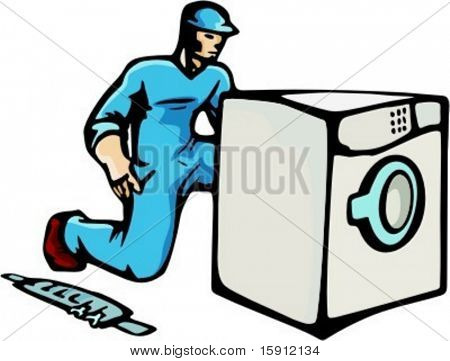 A ready-to-cut vector illustration of a technician, repairing or installing a washing machine.