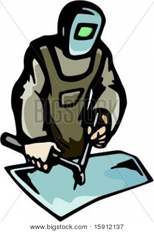 A ready-to-cut vector illustration of a welder.