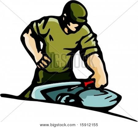 A ready-to-cut vector illustration of a mechanic with a screw-driver.