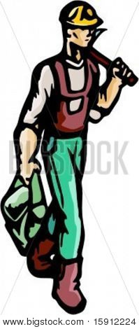 A ready-to-cut vector illustration of a worker, walking with an ax. Might be also a forester.