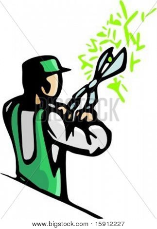 A ready-to-cut vector illustration of a gardener, trimming a bush or tree with big clippers.