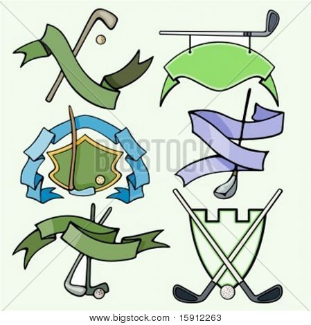 A set of 6 vector sport templates of golf.Ready-to-cut.Pantone colors.