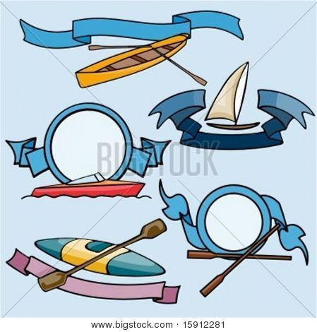 A set of 5 vector sport templates of boats.Ready-to-cut.Pantone colors.