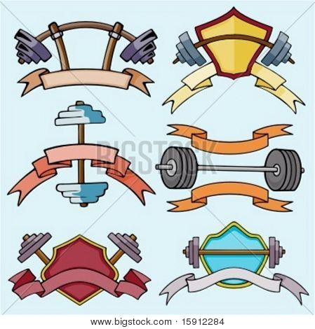 A set of 6 vector sport templates of dumbell.Ready-to-cut.Pantone colors.