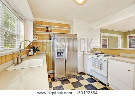 U-shaped Kitchen Room Interior With Modern Refrigerator