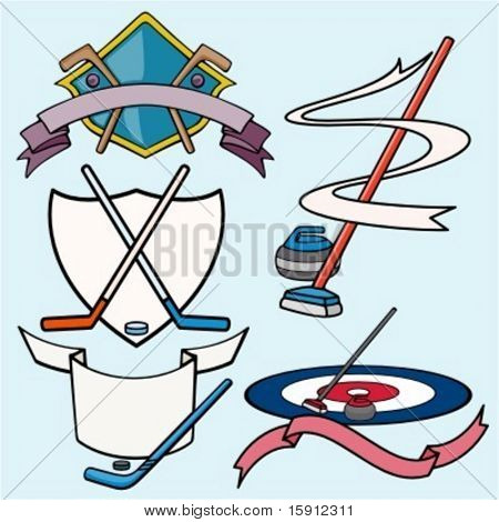 A set of 5 vector sport templates of hockey.Ready-to-cut.Pantone colors.