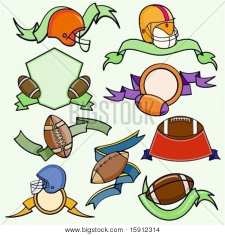A set of 9 vector sport templates of american football.Ready-to-cut.Pantone colors.