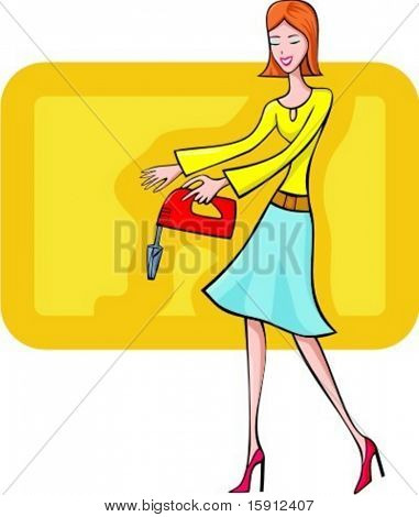 A vector illustration of a red-haired shopping girl testing a mixer.
