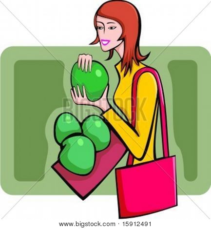 A vector illustration of a shopping red-haired girl looking at fruits and holding a handbag.