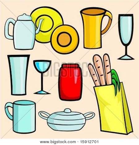 A set of 9 vector illustrations of cups, glasses, tea-pot, jar and a bag with products.