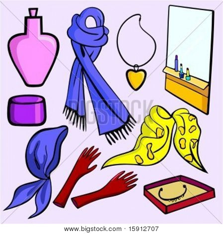 A set of 9 vector illustrations of women's fashion accessories, cosmetics and jewelry.