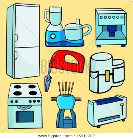 A set of 8 vector illustrations of food processors, toaster, mixer, stoves, fondu and a refrigerator.