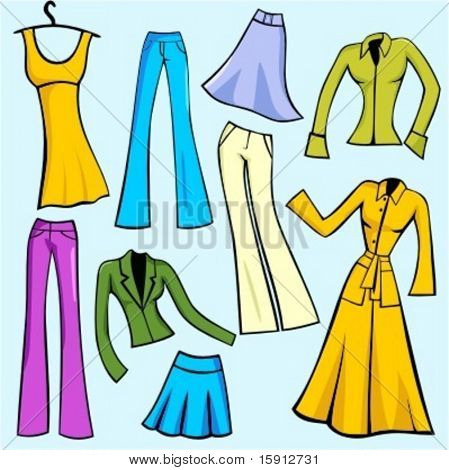 A set of 9 vector illustrations of women's fashion dresses, skirts, pants, blouses and jackets.