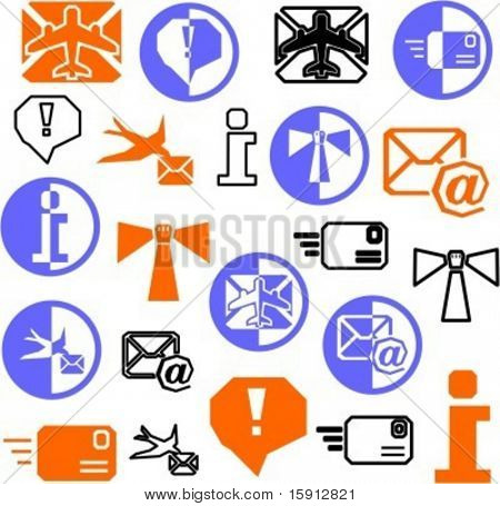 A set of 22 communication icons. Check my portfolio for many more images of this series.